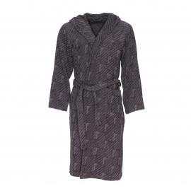 Peignoir éponge à capuche Emporio Armani à rayures contrastées gris taupe