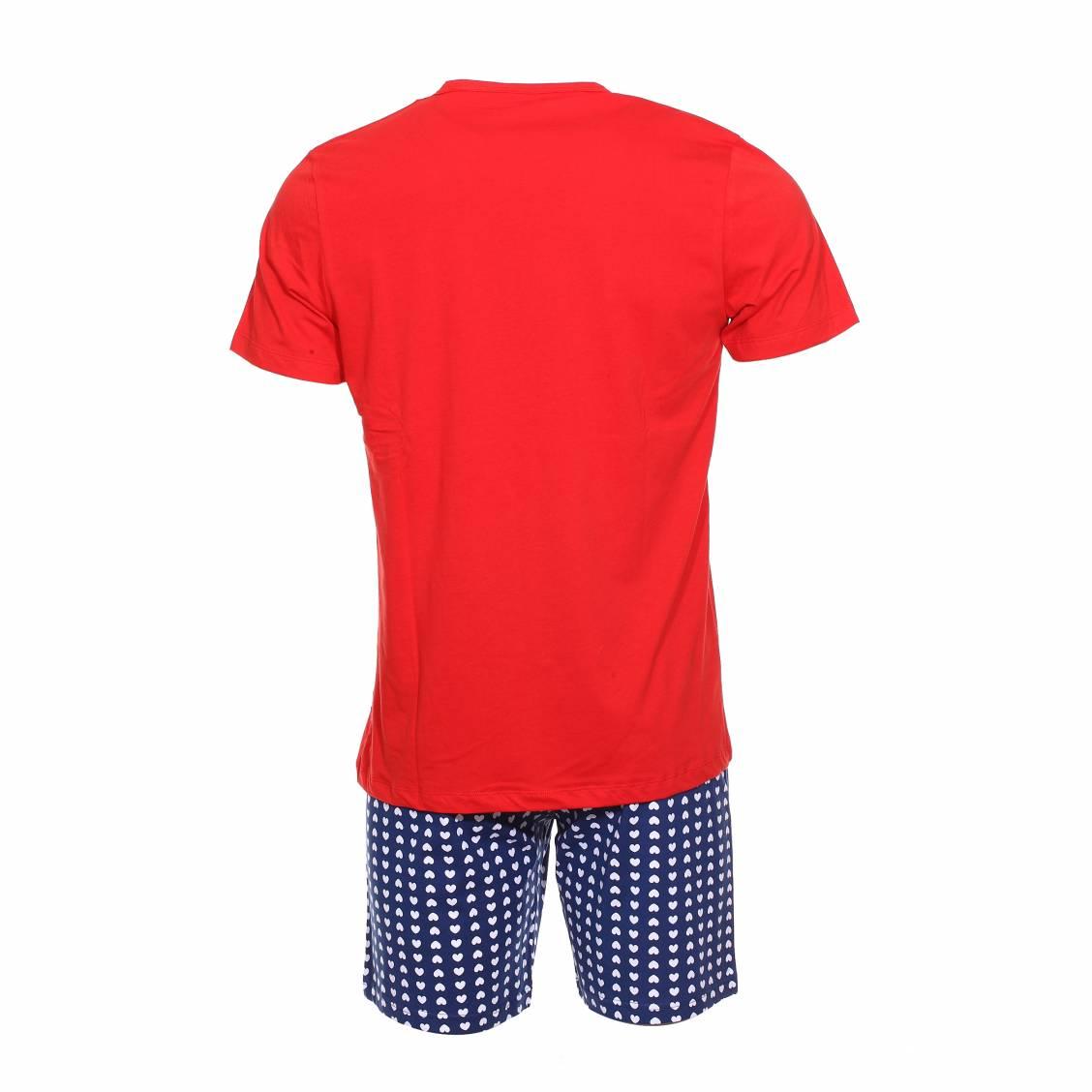 Pyjama court coup de coeur tee shirt rouge floqu et short bleu fonc motifs c urs rue des - Pyjama homme marque coup de coeur ...