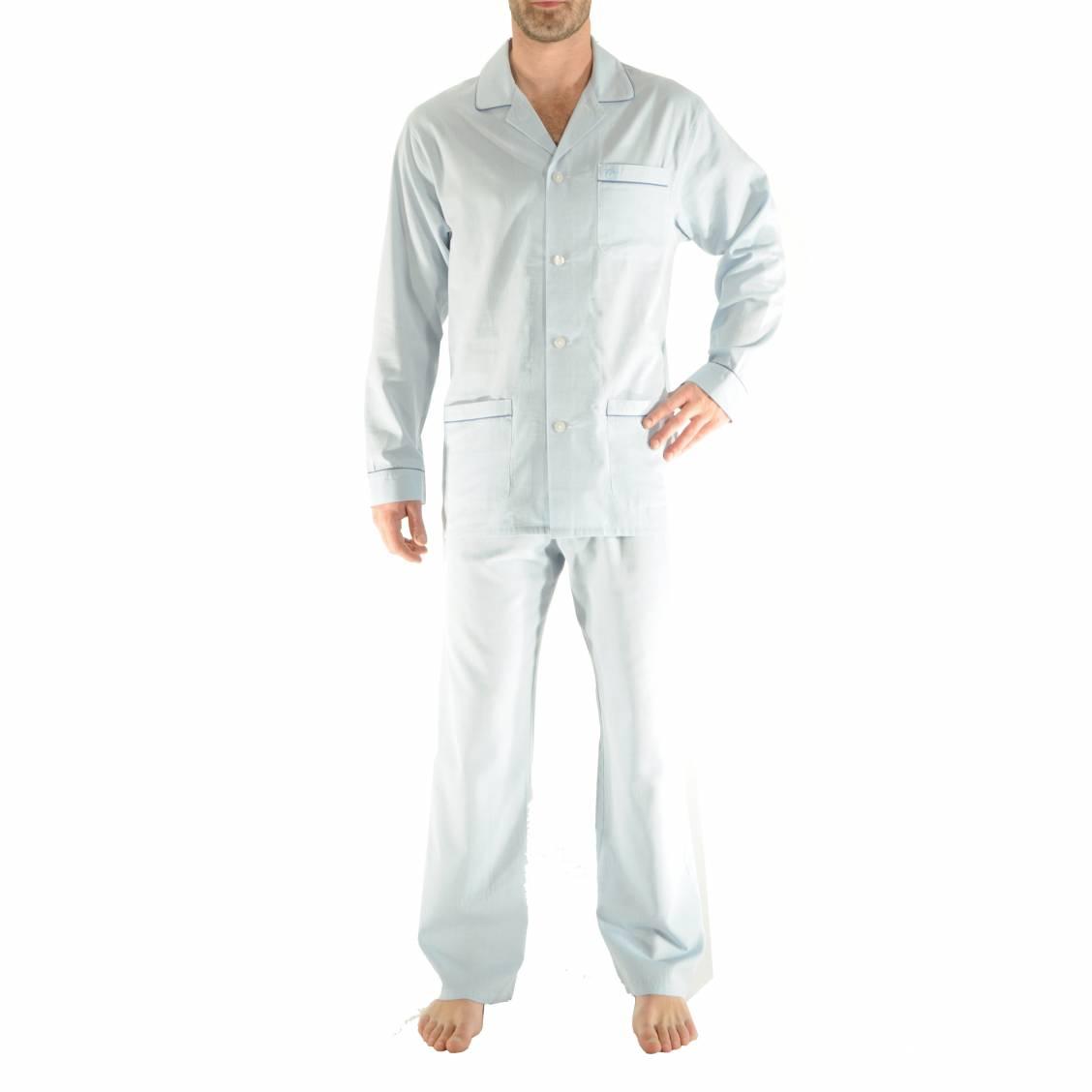 Pyjama Christian Cane en coton bleu clair à motifs
