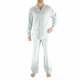 Pyjama long Gabriel Christian Cane : veste et pantalon bleu clair à motifs chevrons