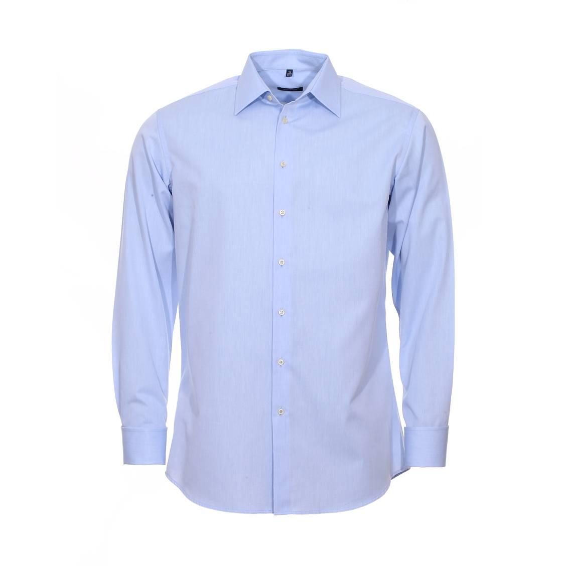 Chemise manches longues, droite  en coton bleu ciel