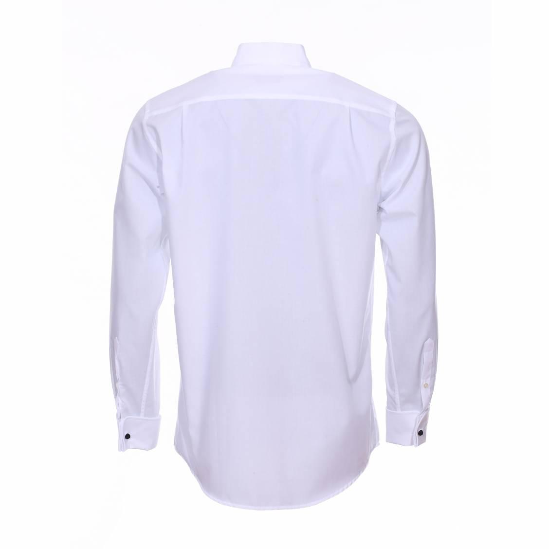 chemise c r monie seidensticker col cass en coton blanc sans repassage rue des hommes. Black Bedroom Furniture Sets. Home Design Ideas