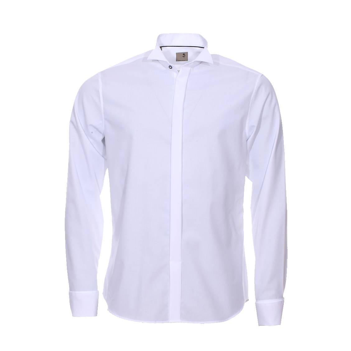 chemise droite seidensticker col cass en popeline de coton blanche sans repassage rue des. Black Bedroom Furniture Sets. Home Design Ideas