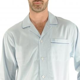 Liquette Gabriel Christian Cane en coton bleu clair à motifs chevrons
