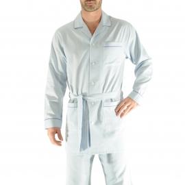 Veste de nuit Gabriel Christian Cane en coton bleu clair à motifs chevrons