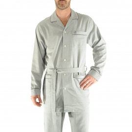 Veste de nuit Gabriel Christian Cane en coton gris à motifs chevrons