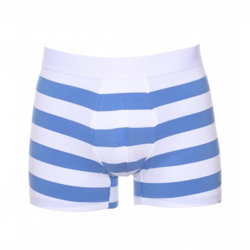 Boxer  en coton stretch ray� bleu et blanc � ceinture blanche