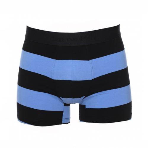 Boxer  en coton stretch ray� bleu et noir � ceinture noire