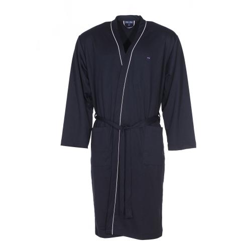 Robe de chambre  en coton bleu nuit