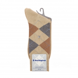 Chaussettes Manchester Burlington en coton mercerisé beige à carreaux marron et gris