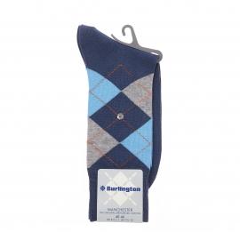 Chaussettes Manchester Burlington en coton mercerisé bleu indigo à carreaux bleu ciel et gris