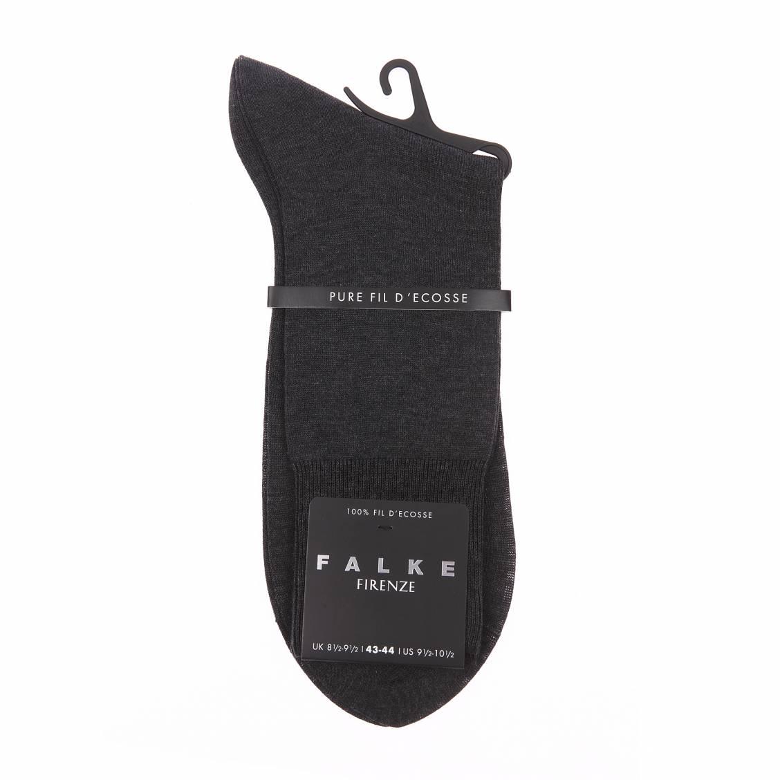 Chaussettes Firenze Falke fil d'écosse  en maille fine gris foncé aux reflets soyeux