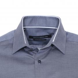 Chemise ajustée manches longues Gianni Ferrucci en coton fil à fil gris
