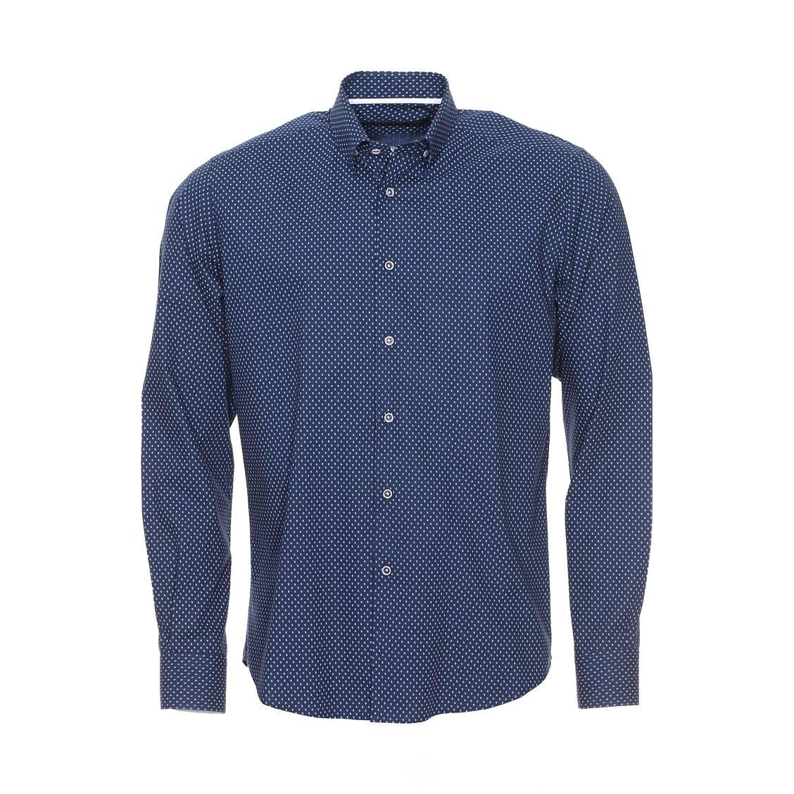 Chemise ajustée manches longues  en coton bleu foncé à motifs gouttes