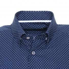 Chemise ajustée manches longues Gianni Ferrucci en coton bleu foncé à motifs gouttes