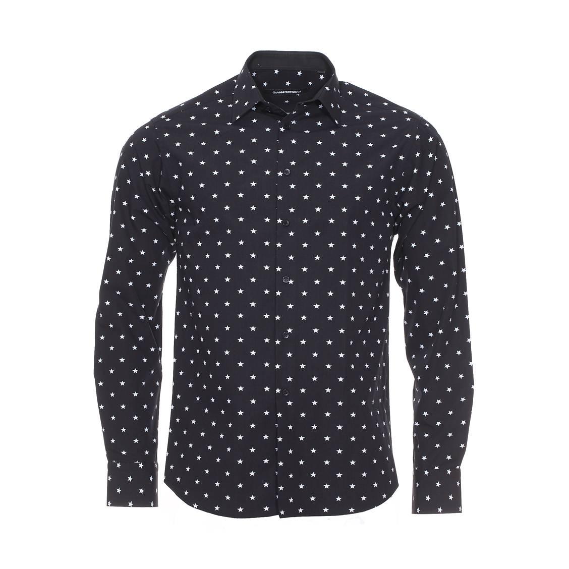 Chemise droite manches longues  en coton noir à étoiles gris clair