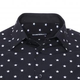 Chemise droite manches longues Gianni Ferrucci en coton noir à étoiles gris clair