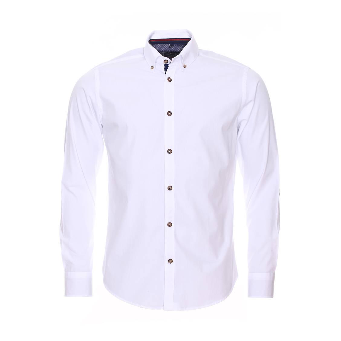 Chemise droite à manches longues  en coton blanc à opposition bleu denim à motifs