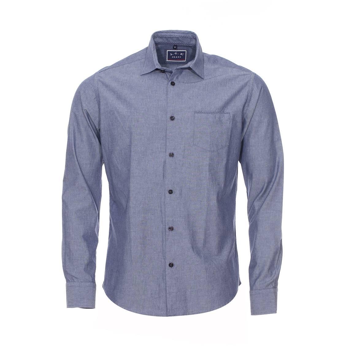 Chemise droite à manches longues  en coton bleu denim