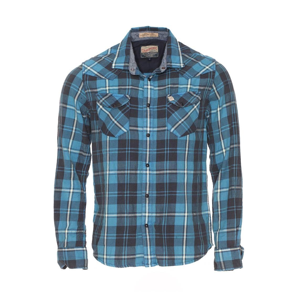 Chemise droite  en coton bleu lagon à carreaux
