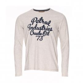 Tee-shirt manches longues col rond Petrol Industries en coton gris clair flammé
