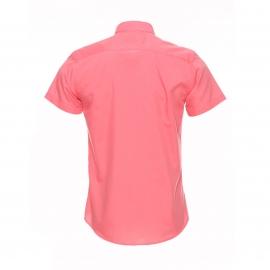 Chemise cintrée à manches courtes Méadrine corail à opposition blanche à pois noirs