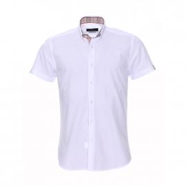 Chemise cintrée à manches courtes Méadrine blanche à opposition crème rayée rouge et noire