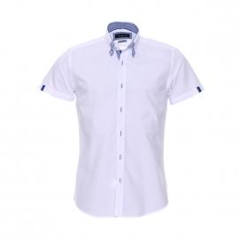 Chemise cintrée à manches courtes Méadrine blanche à opposition à carreaux bleus et blancs