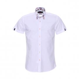 Chemise cintrée à manches courtes Méadrine blanche à opposition à motifs colorés baroques