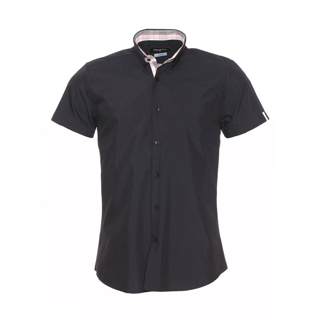 Chemise cintrée manches courtes  noire à opposition crème rayée rouge et noire