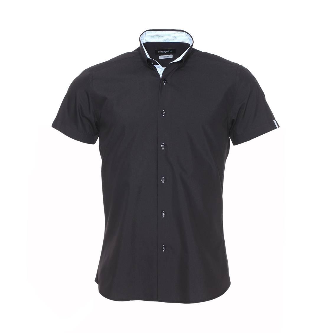 Chemise cintrée manches courtes Méadrine noire à opposition à rayures