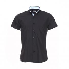Chemise cintrée à manches courtes Méadrine noire à opposition à rayures