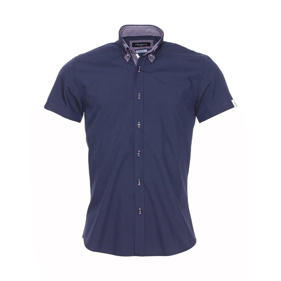 Chemise cintrée manches courtes  bleu marine à opposition à motifs gouttes