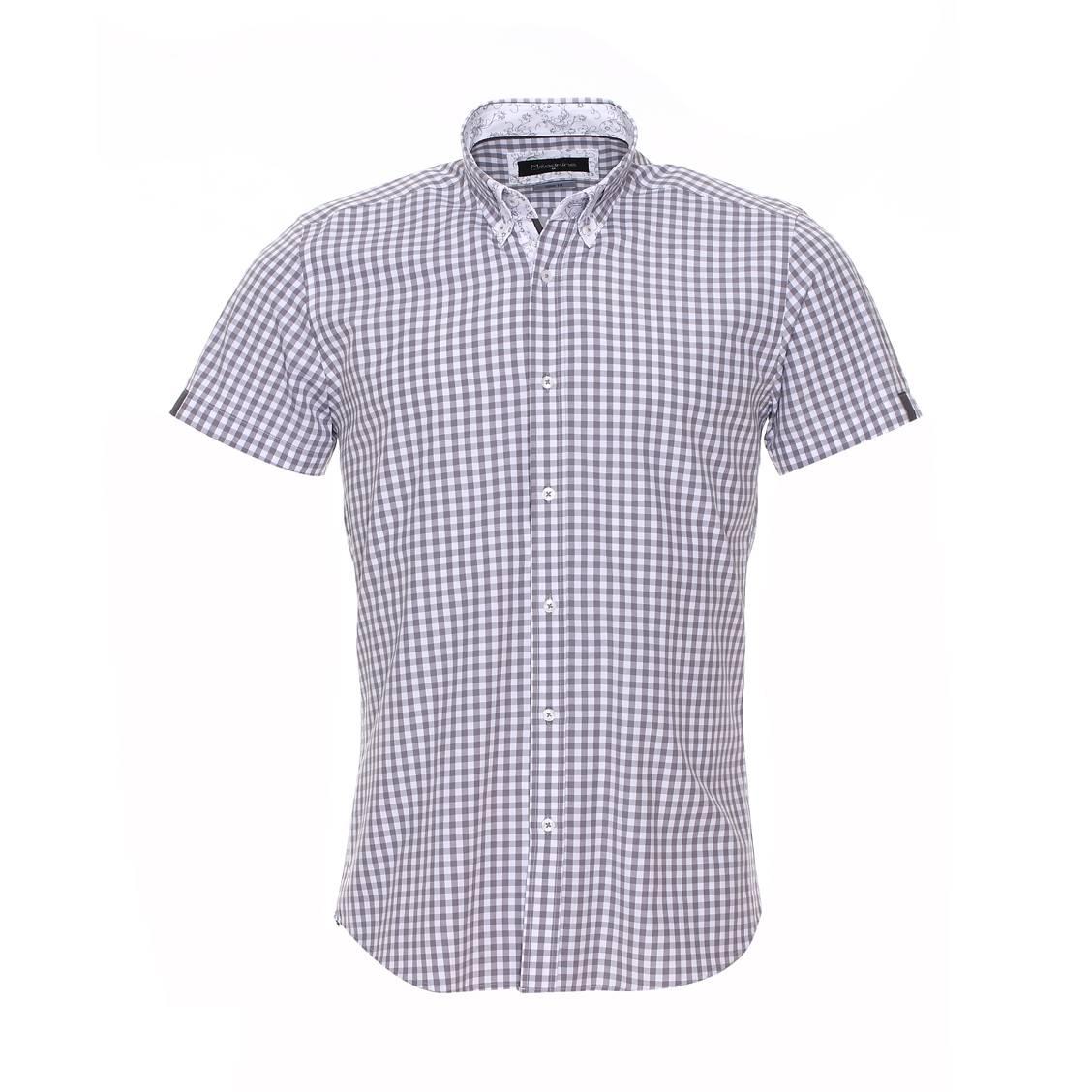 Chemise cintrée à manches courtes  vichy gris clair et blanc à opposition blanche à motifs