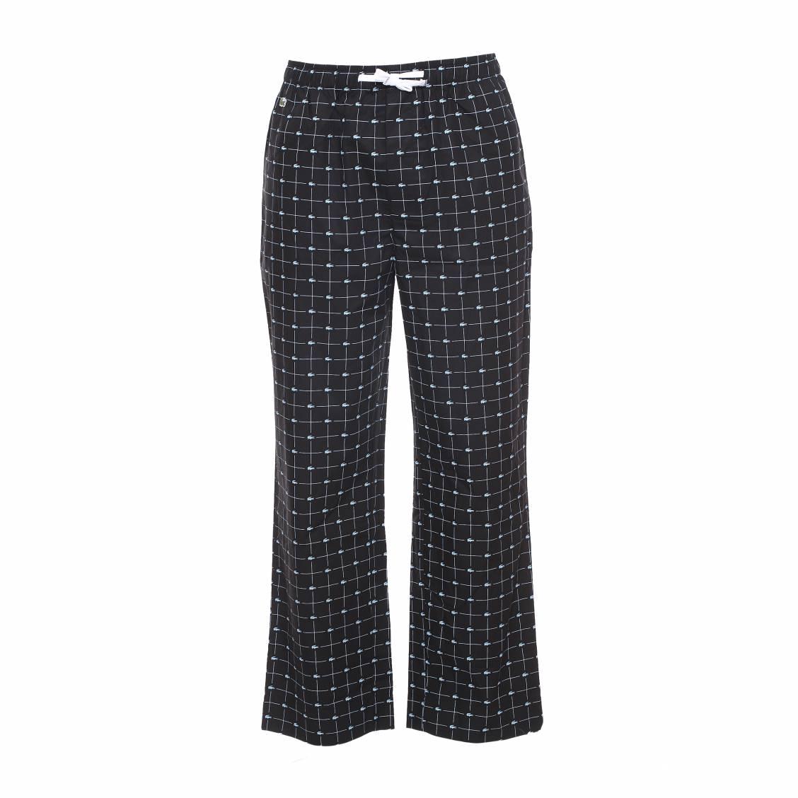 pantalon d 39 int rieur baseline lacoste en coton noir logotyp en bleu clair rue des hommes. Black Bedroom Furniture Sets. Home Design Ideas