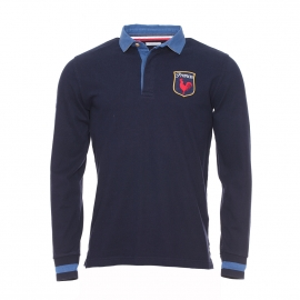 Polo manches longues France Serge Blanco en coton bleu marine à col bleu denim