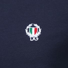 Tee-shirt col rond Dolce & Gabbana en coton stretch bleu marine
