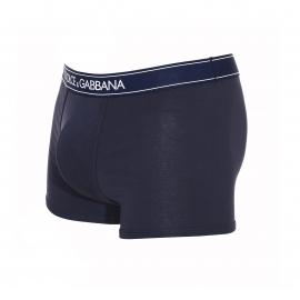 Boxer Dolce & Gabbana en coton stretch bleu marine à ceinture estampillée
