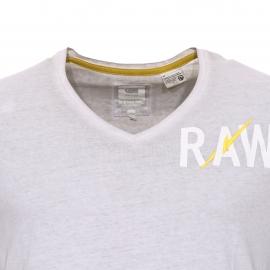 Tee-shirt col V Hujan G-Star en coton beige vintage