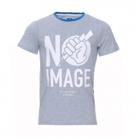 Tee-shirt col rond Heman G-Star en coton chiné bleu clair à motifs en feutrine