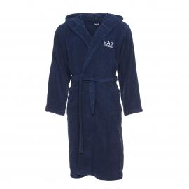 Peignoir à capuche EA7 en coton peigné bleu marine