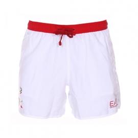 Short de bain EA7 blanc à ceinture rouge