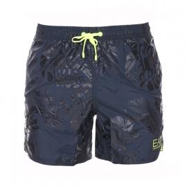 Short de bain EA7 bleu pétrol à motifs camouflage et à détails jaune fluo
