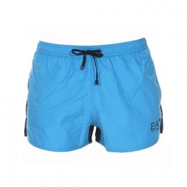 Short de bain EA7 bleu azur, bleu marine et blanc estampillé