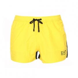 Short de bain EA7 jaune, noir et blanc estampillé