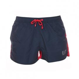 Short de bain EA7 bleu marine, rouge et gris estampillé