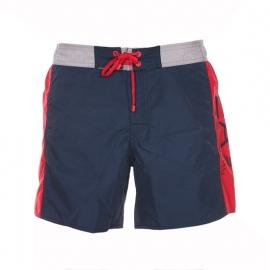 Short de bain EA7 bleu marine à bandes rouges