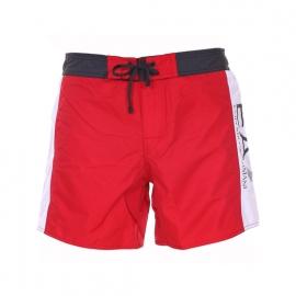 Short de bain EA7 rouge à bandes blanches estampillé