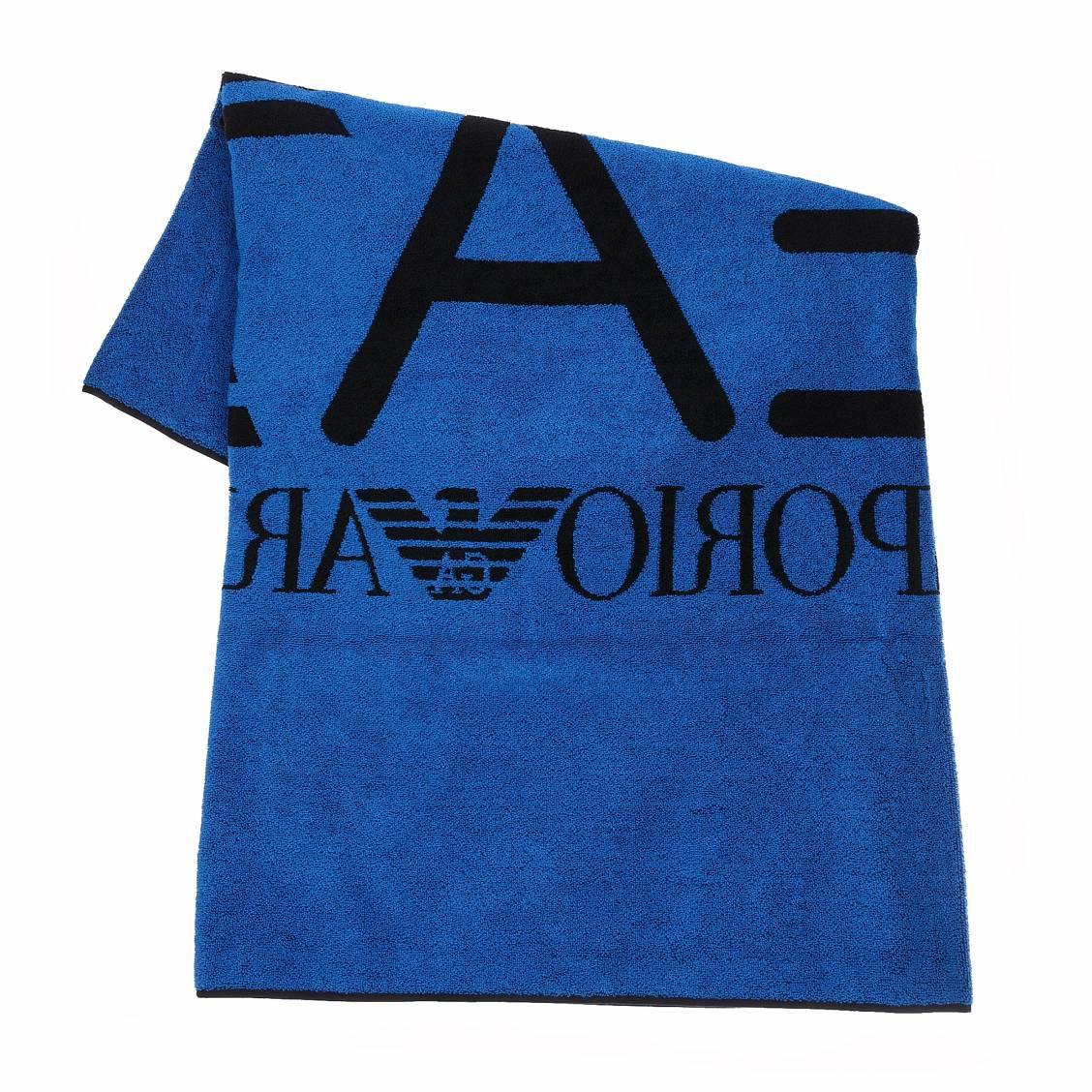 serviette de plage r versible ea7 en coton bleu azur et noir rue des hommes. Black Bedroom Furniture Sets. Home Design Ideas