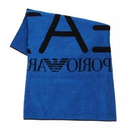 Serviette de plage réversible EA7 en coton bleu azur et noir
